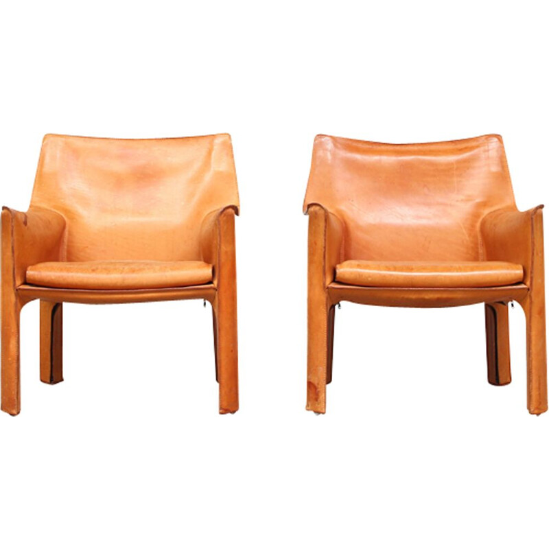 Pair of vintage lounge chairs CAB 414 by Mario Bellini for Cassina Italy 1980s