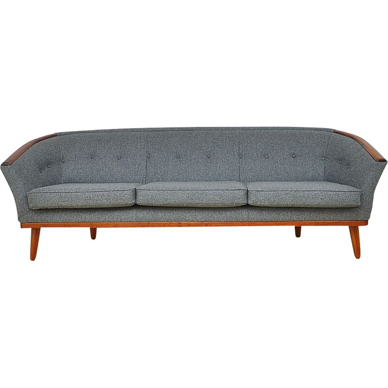 Vintage 3 seaters sofa with teak and wool 1950s