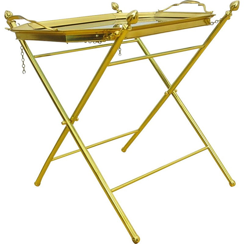 Vintage brass folding side table with height adjustment 1970s