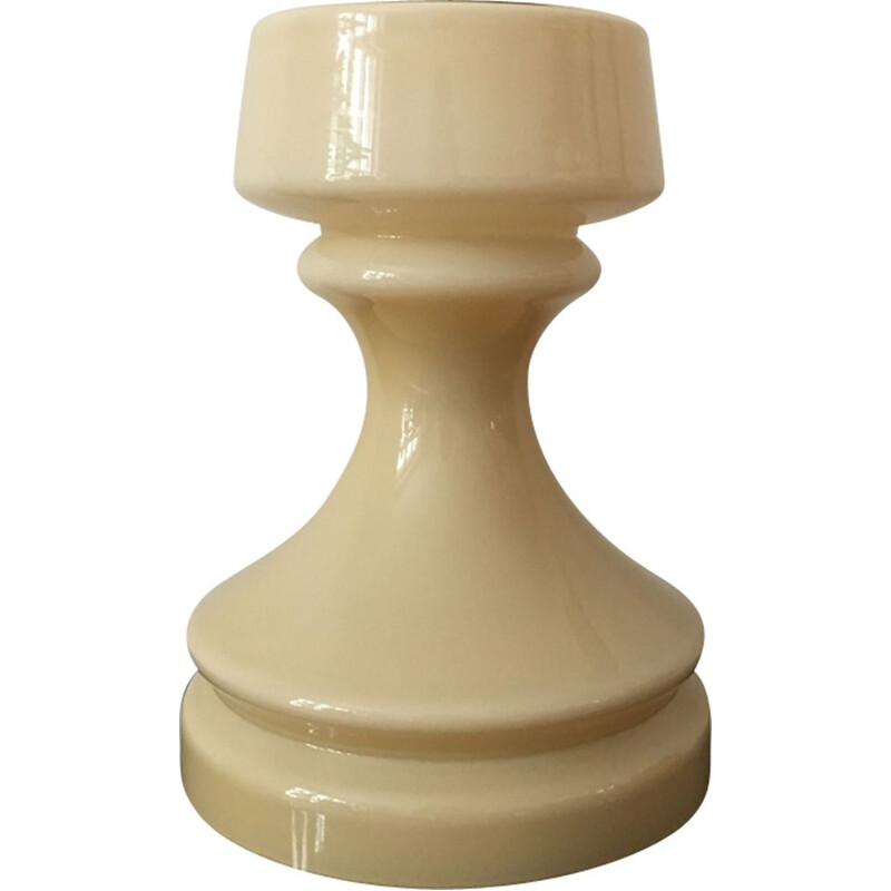 Vintage Beige Chess Glass Table Lamp by Ivan Jakes 1960s