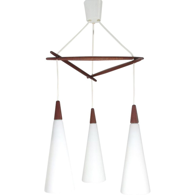 Vintage Nordic chandelier in opaline glass and teak