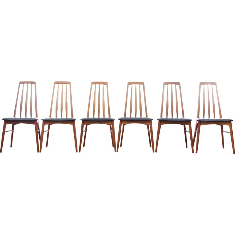 Set of 6 scandinavian dining chairs in teak model Eva,1960