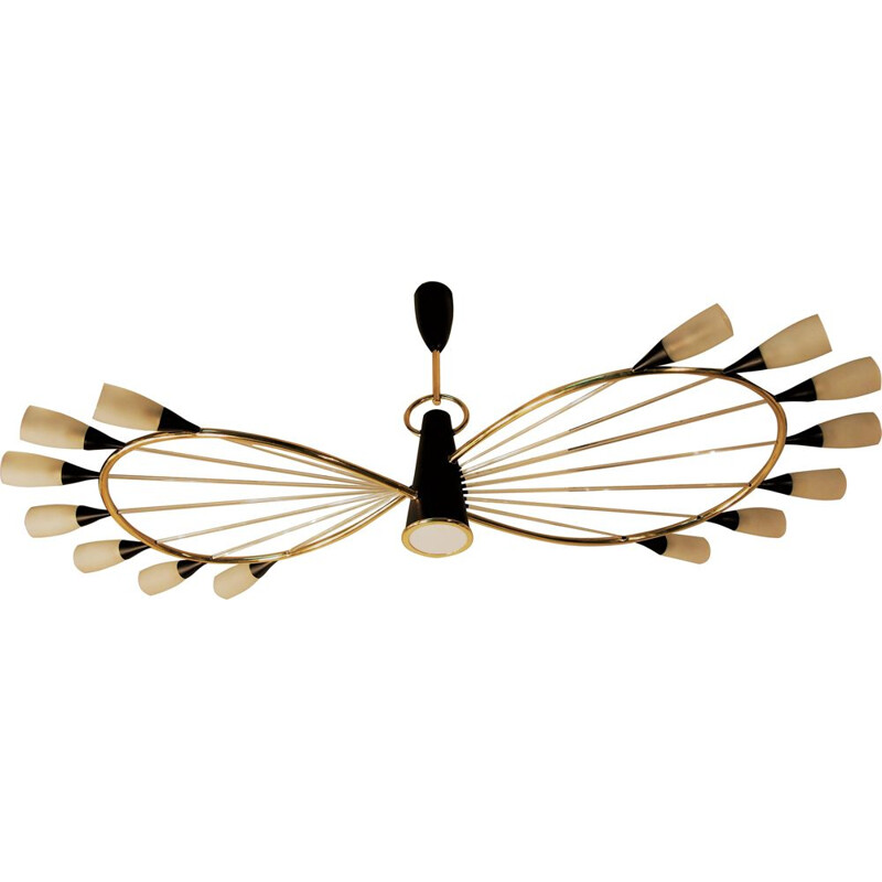 Vintage chandelier by Arlus in black and brass from the 50s