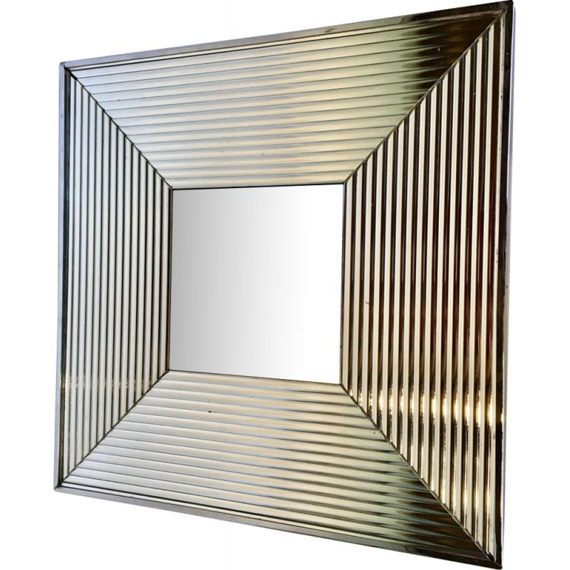 Vintage chrome square mirror from the 80s