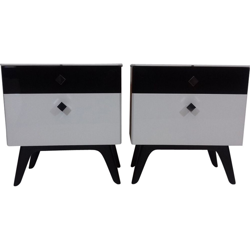 Pair of vintage bedside tables by Jindřich Halabala