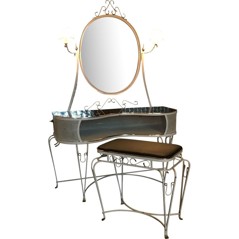 Vintage hollywood regency style French dressing table and stool