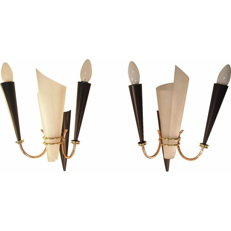 Pair of vintage wall lamps LUNEL perspex brass