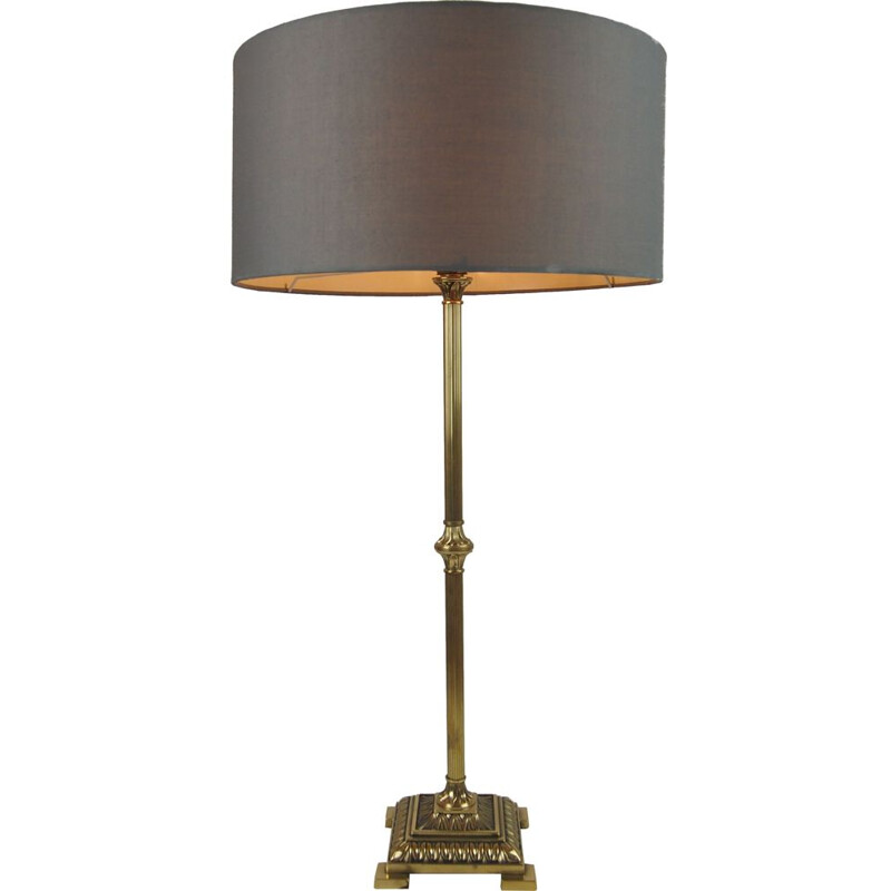 Vintage table lamp Empire Column Neo Classical gilt bronze France 1970s