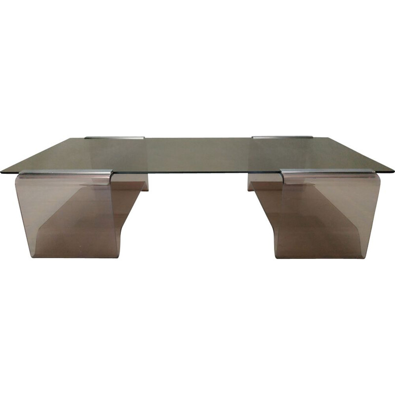 Vintage coffee table in smoked glass by Michel Dumas 1970