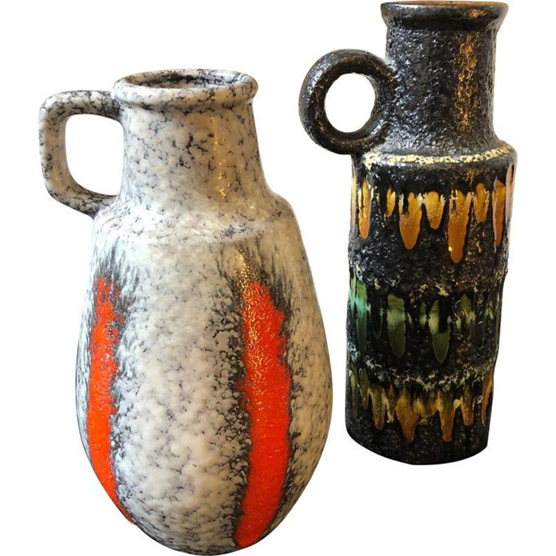 Pair of vintage jugs in lava by Scheurich Germany 1970