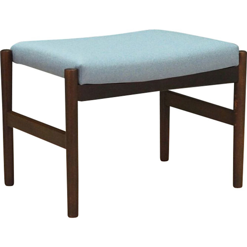 Vintage foot stool in oak and light blue 1960