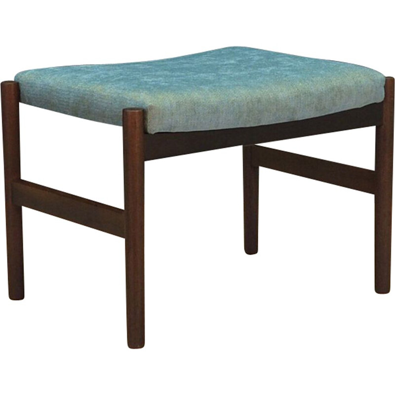Vintage foot stool in oak and turquoise fabric 1960