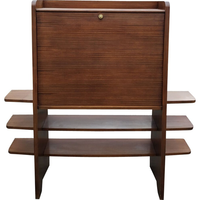 Vintage writing desk in mahogany with wooden shelves 1960