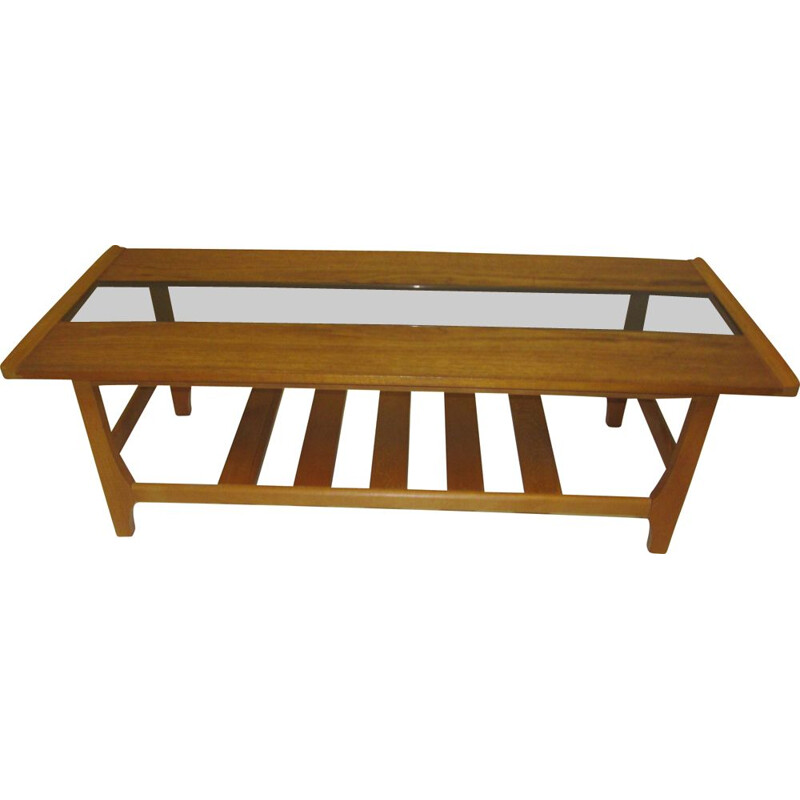 Vintage coffee table in teak and glass 1970