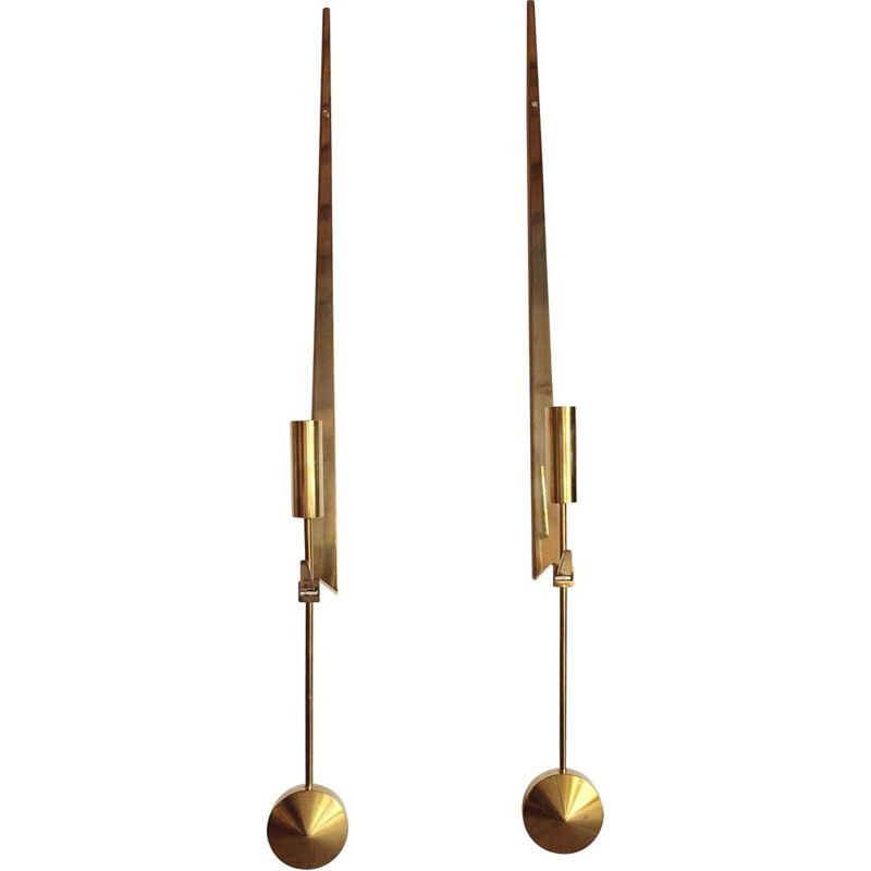 Pair of vintage candleholders for Skultuna in solid brass 1950