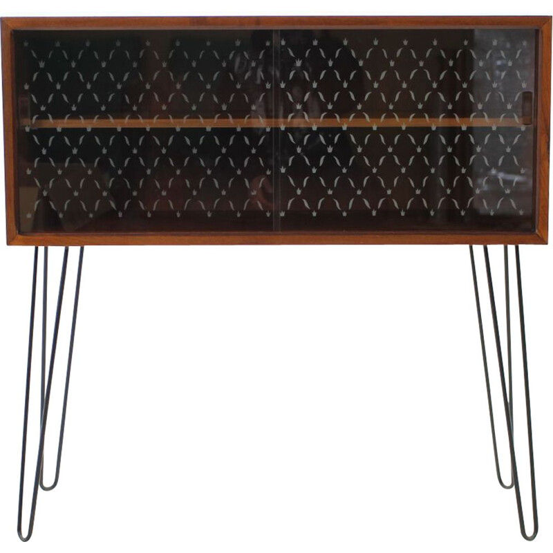 Vintage danish upcycled cabinet in teak and glass 1960