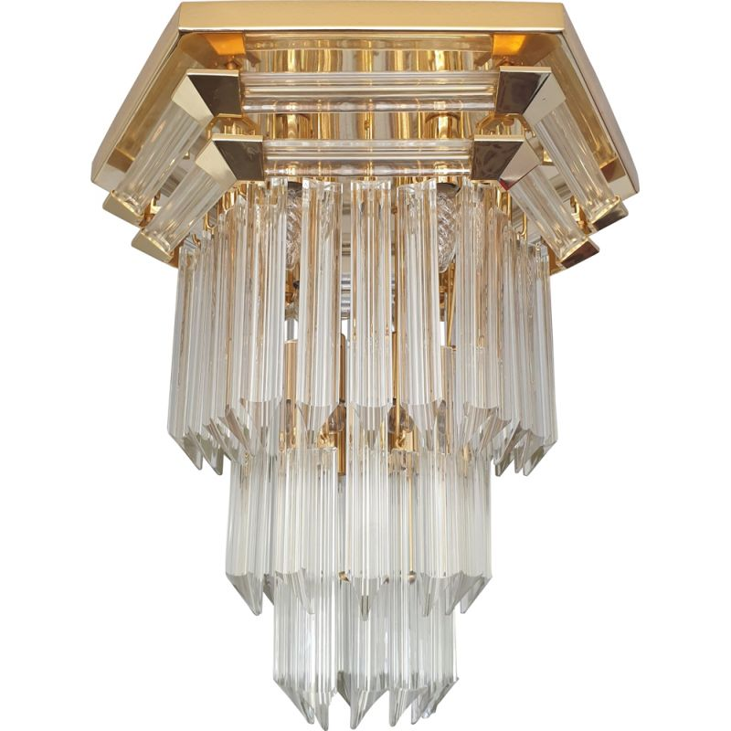 Vintage chandelier for Bakalowits & Söhne in glass and brass 1970