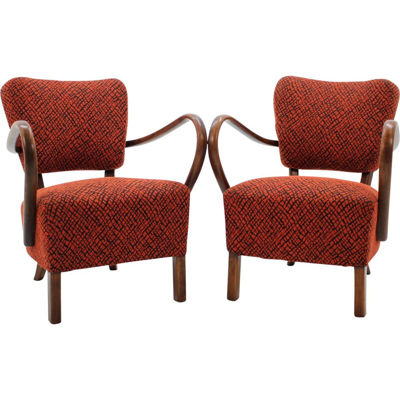 Set of 2 vintage H-237 armchairs in red fabric and wood 1950