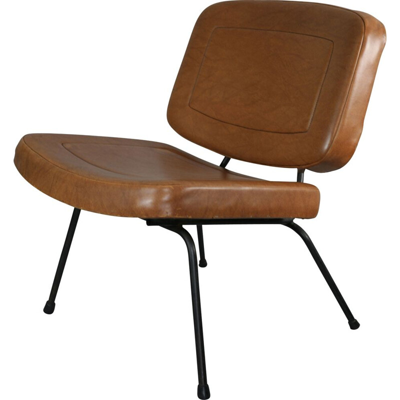 Vintage CM 190 armchair by Paulin for Thonet in brown leatherette 1960