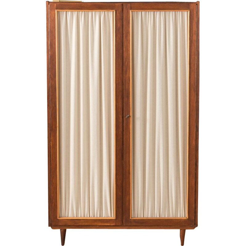 Vintage german wardrobe in wood and glass 1950