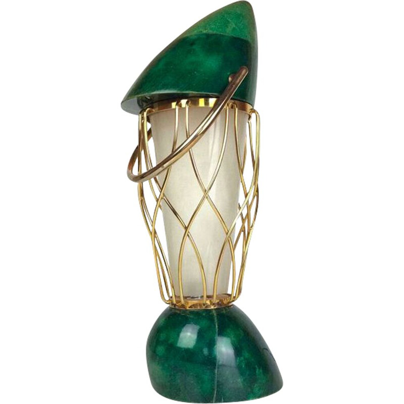 Vintage green lamp by Aldo Tura in wood and brass 1960