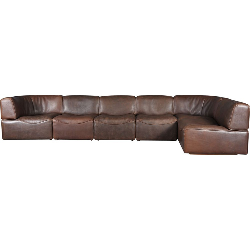 DS15 sofa in brown Buffalo leather by De Sede