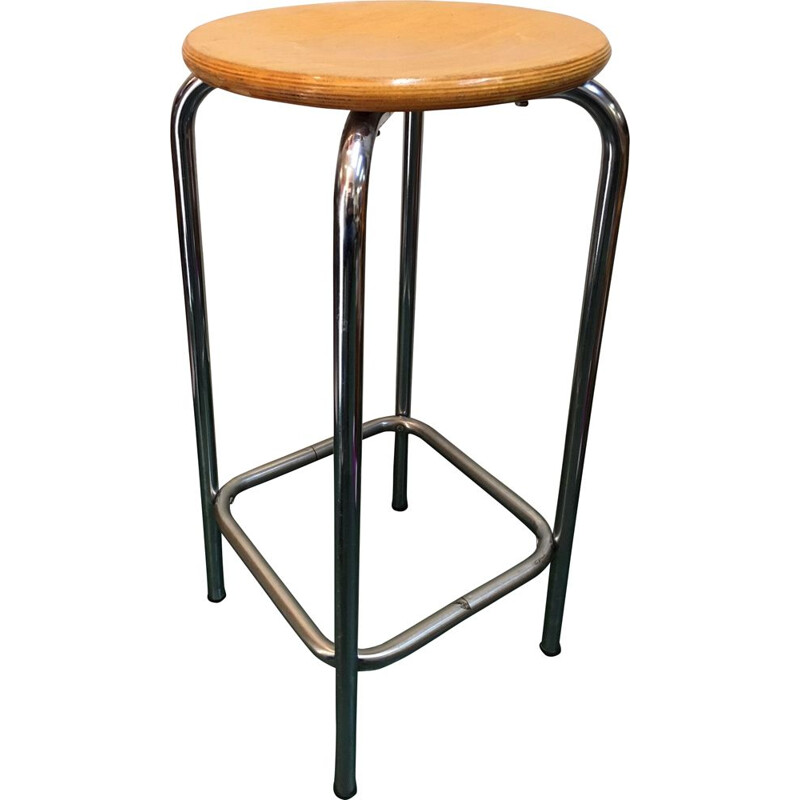 Industrial high stool in wood and chromed steel