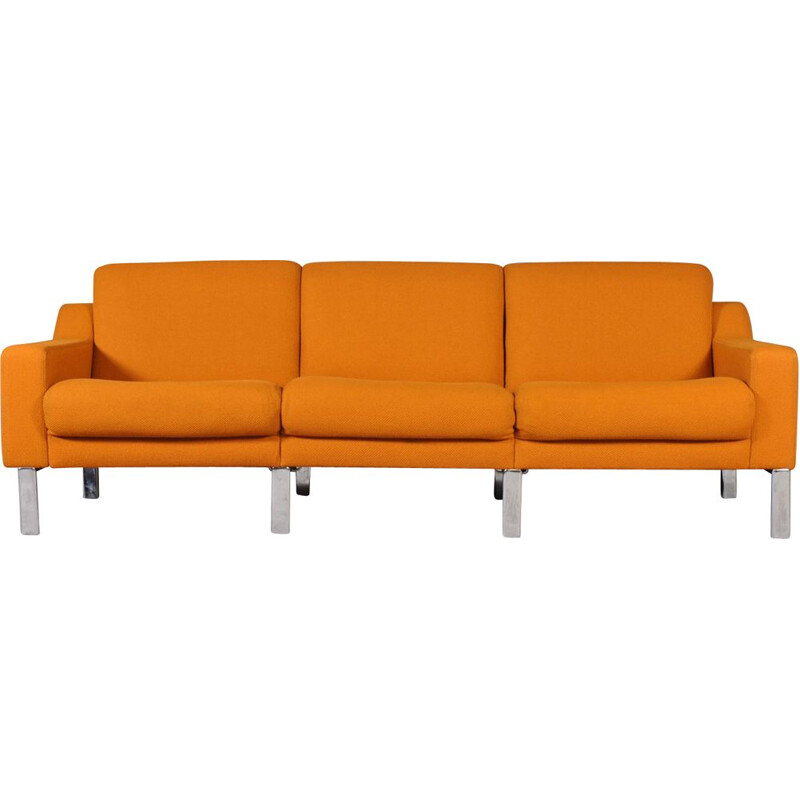 Vintage 3-seater sofa in orange fabric