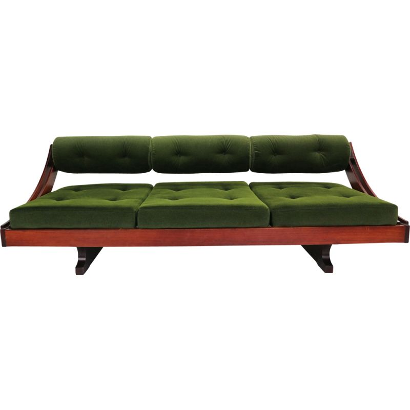 GS195 daybed in green velvet and rosewood by Gianni Songia