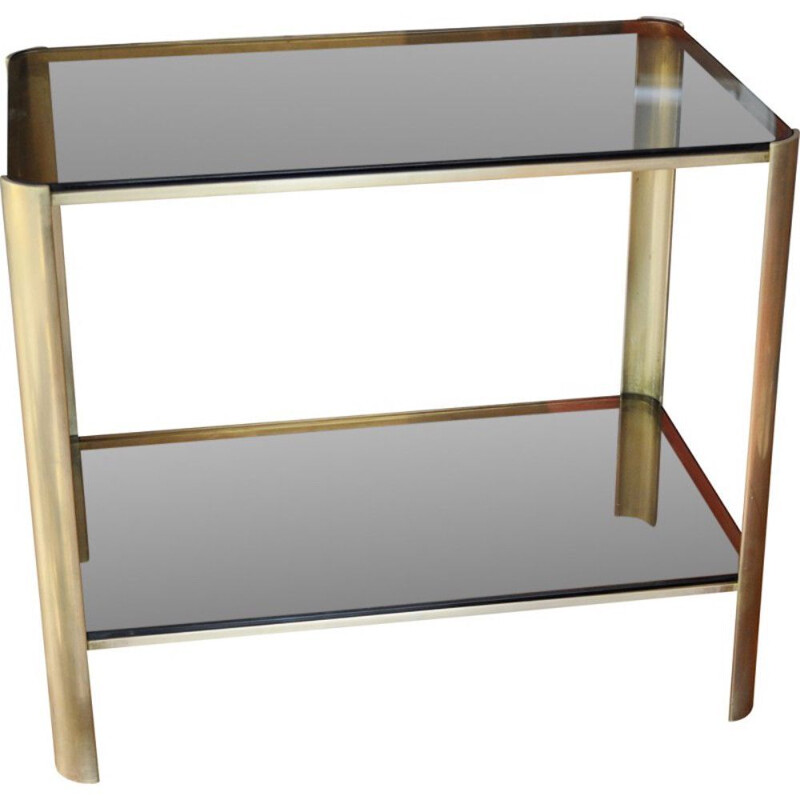 Vintage side table bronze and tinted glass by Jacques Quinet for Broncz, 1960s