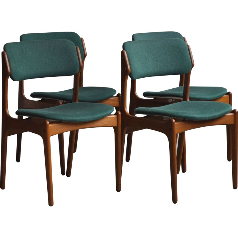 Set of 4 vintage dining chairs by E. Buch for O.D. Møbler, 1960s