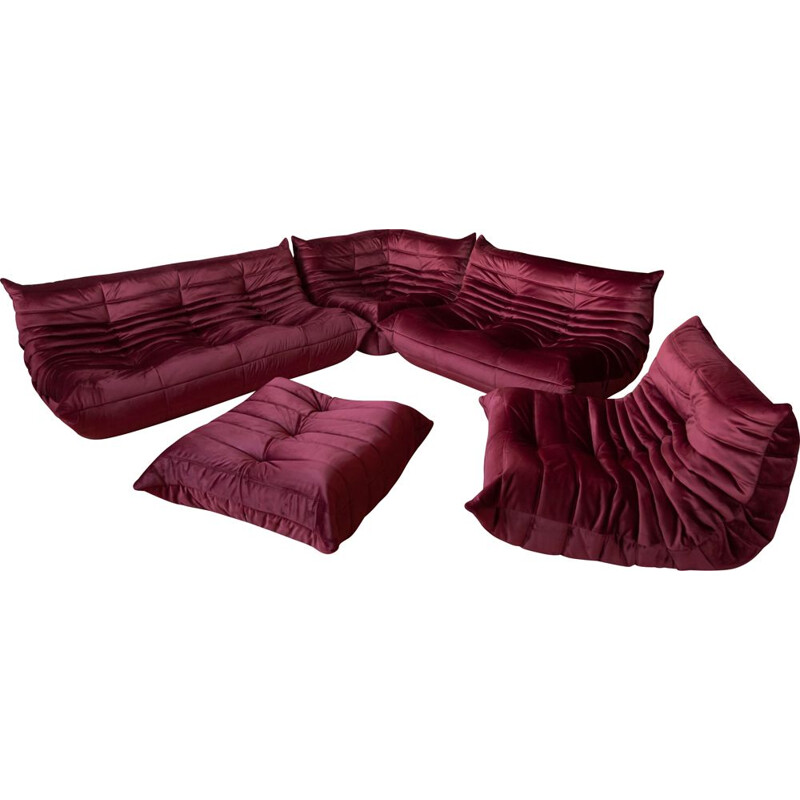 Vintage living room set Burgundy Velvet Togo by Michel Ducaroy for Ligne Roset, 1970s