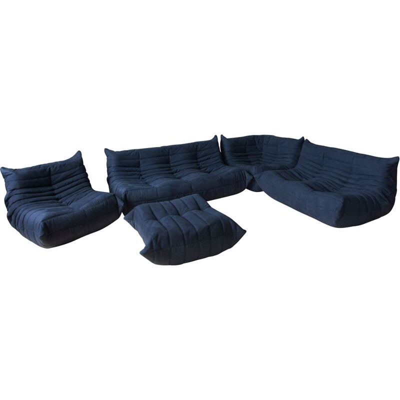 Vintage living room set Blue Togo by Michel Ducaroy for Ligne Roset, 1970s