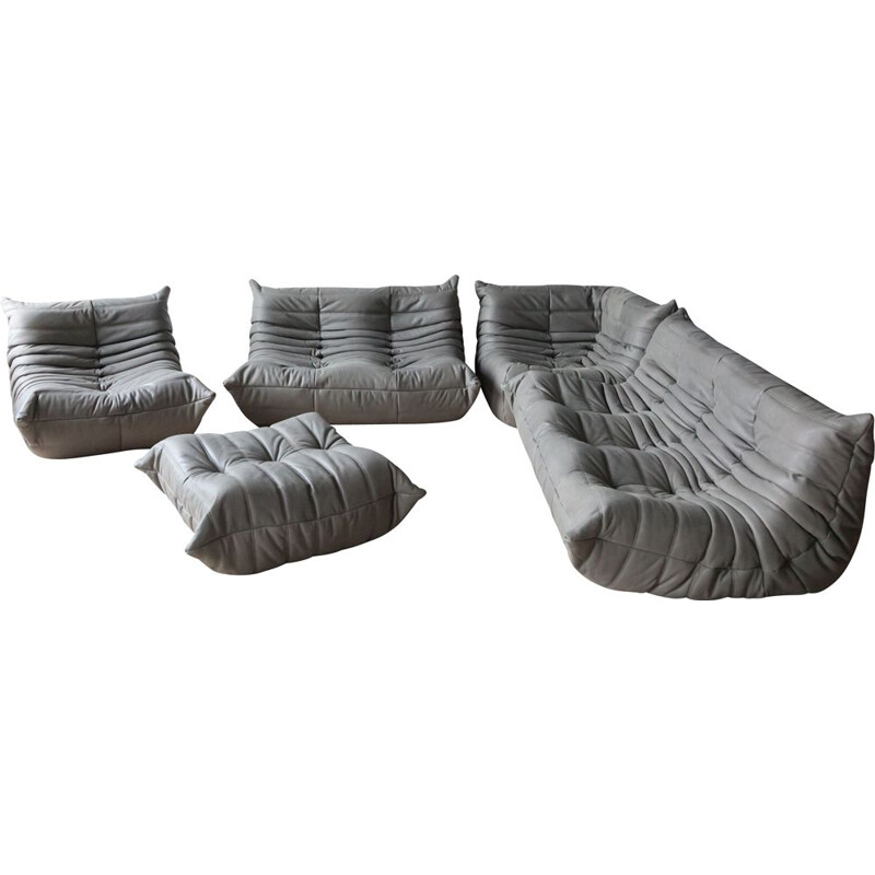 Vintage living room set Grey Leather Togo by Michel Ducaroy for Ligne Roset, 1970s