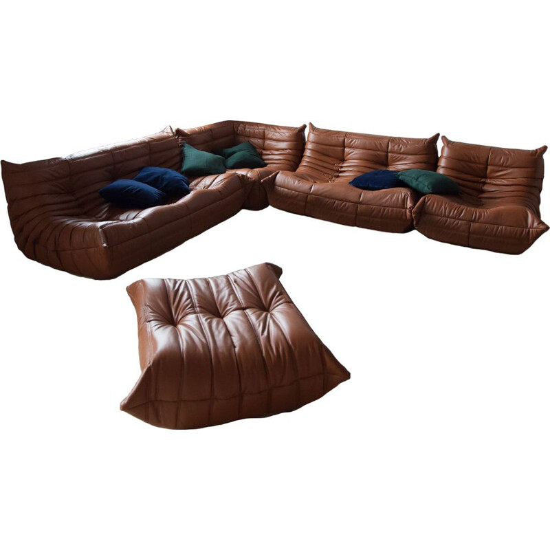 Vintage living room set Brown Leather Togo by Michel Ducaroy for Ligne Roset, 1970s