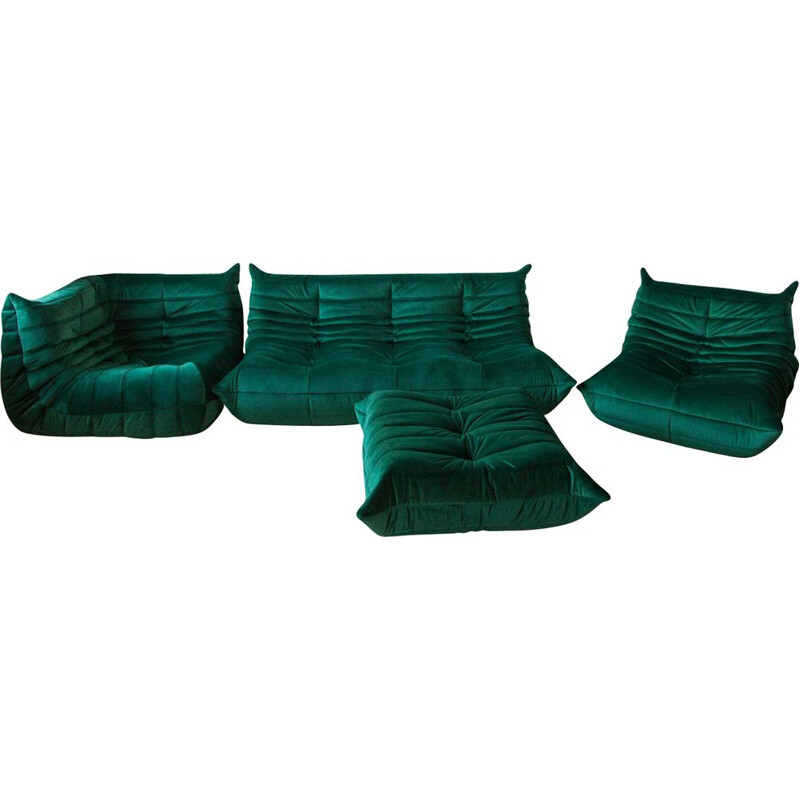 Vintage living room set Green Velvet Togo by Michel Ducaroy for Ligne Roset, 1970s