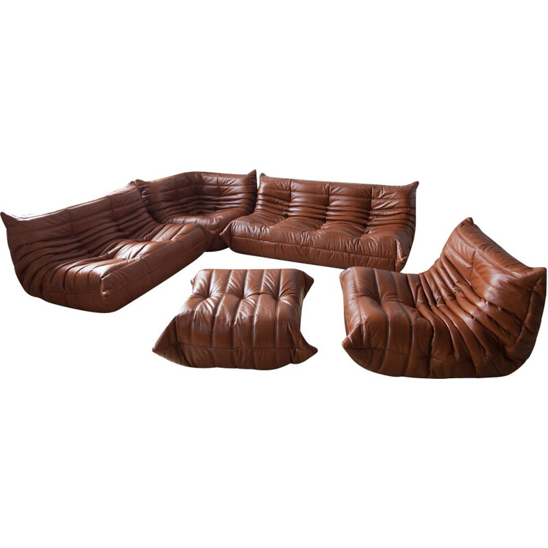 Vintage living room set Whiskey Brown Togo by Michel Ducaroy for Ligne Roset, 1970s