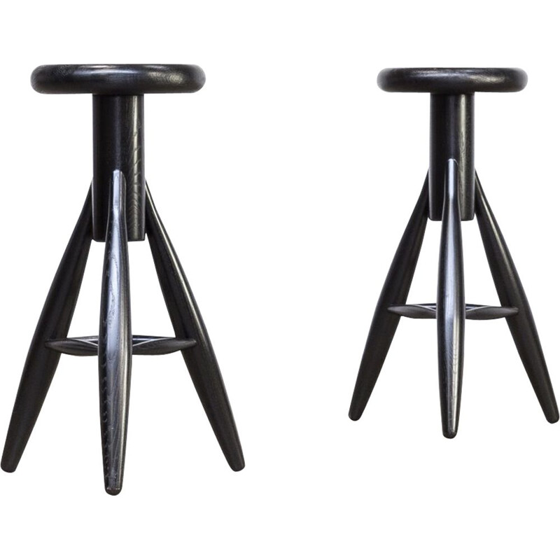 Set of 2 vintage stools EA001 black by Eero Aarnio for Artek 1990s