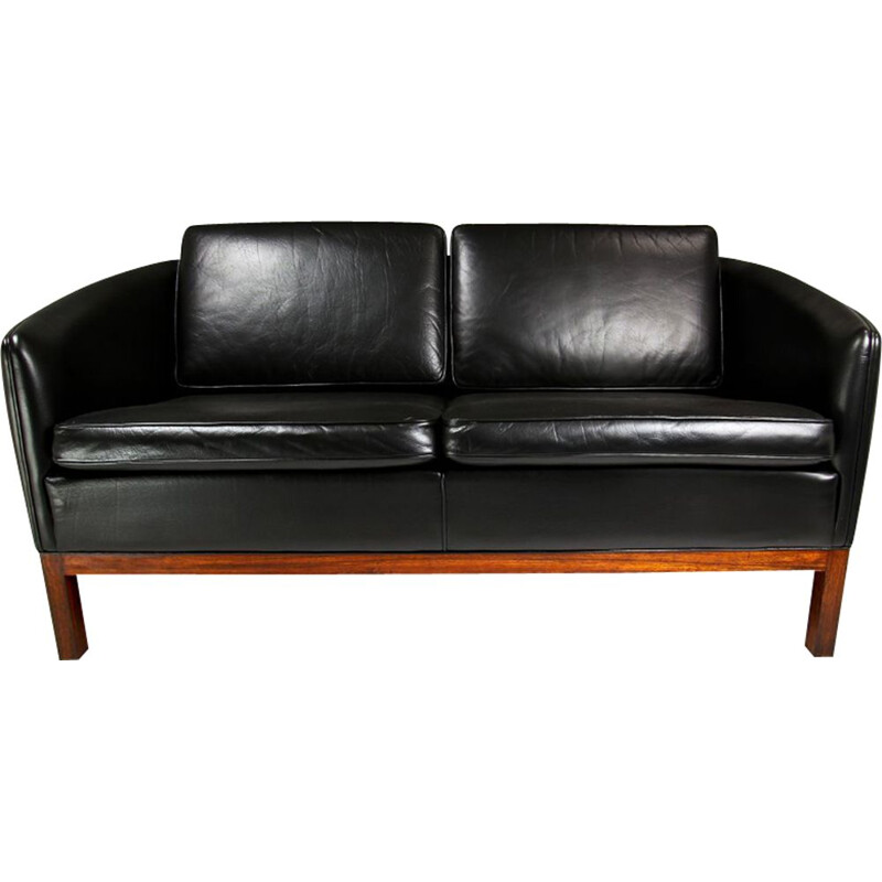 Vintage sofa black leather & rosewood by Illum Wikkelso for Holger Christiansen, Denmark 1950s