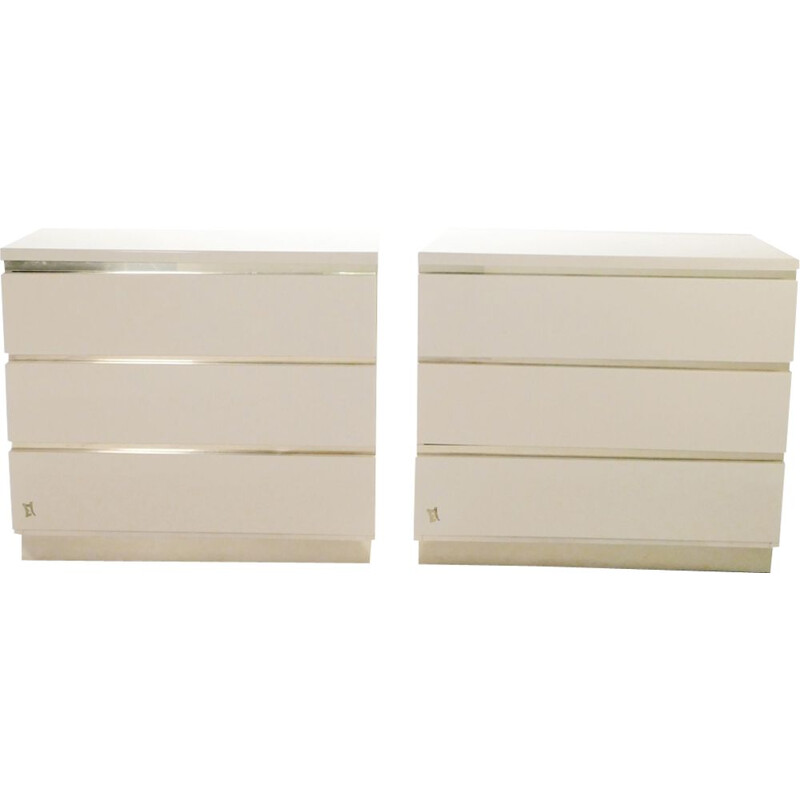 Pair of vintage chests of drawers white lacquered and brass J.C. Mahey for the Maison Romeo 1970