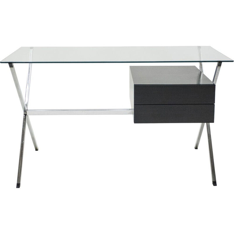 Vintage desk glass and chrome 1928 by Franco Albini for Knoll 1950