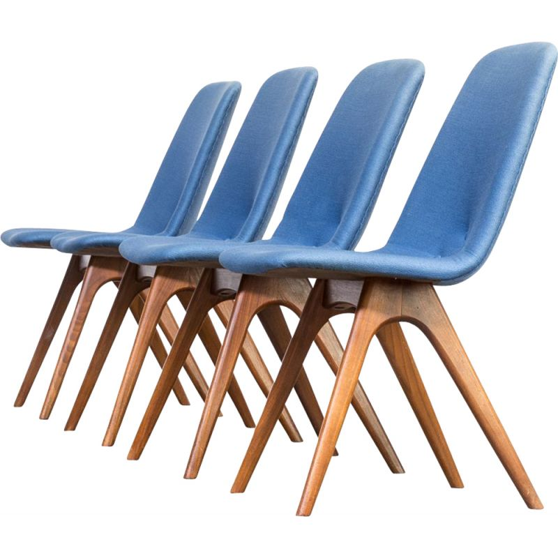 Set of 4 blue vintage dining chairs for van Os Culemborg 1960