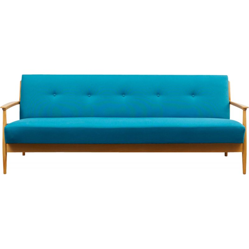 Vintage petrol blue 3 seaters sofa with fold-out function in cherrywood 1960s