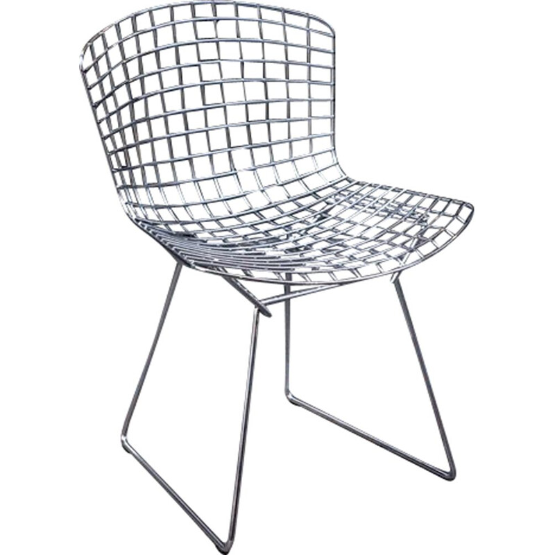 Vintage Bertoia Knoll chairs in chrome