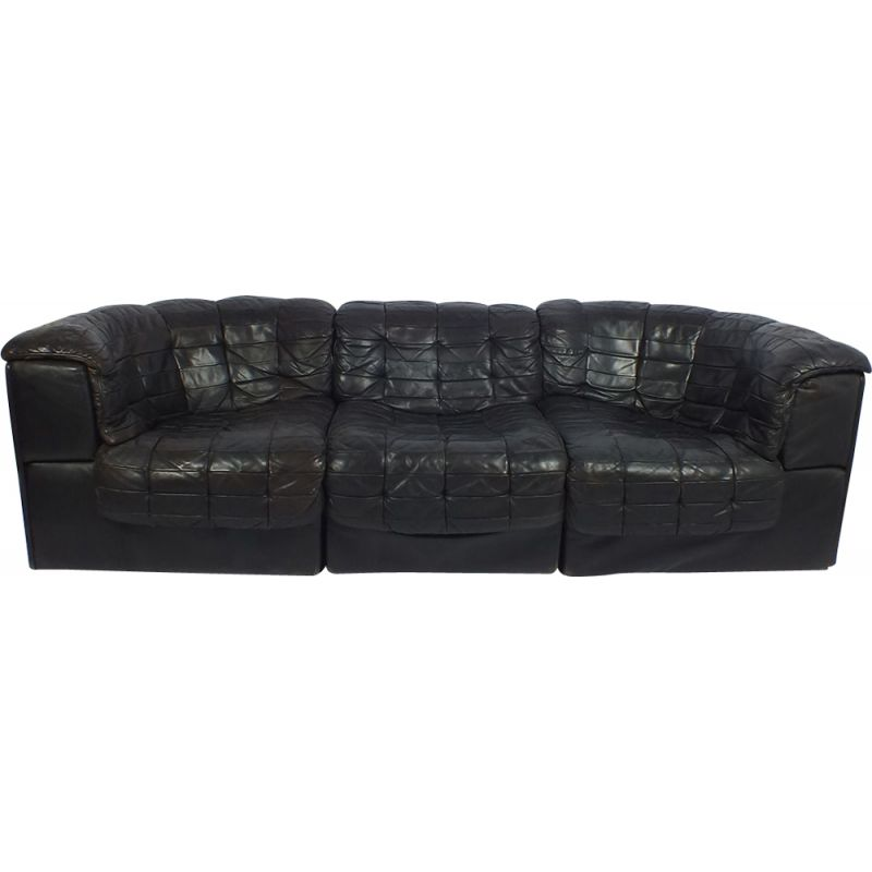 Vintage DS11 De Sede black leather 3 seaters sofa 1970s