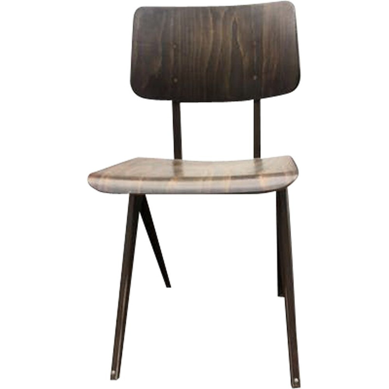 Vintage steel and wood Chair by Frizo Kramer