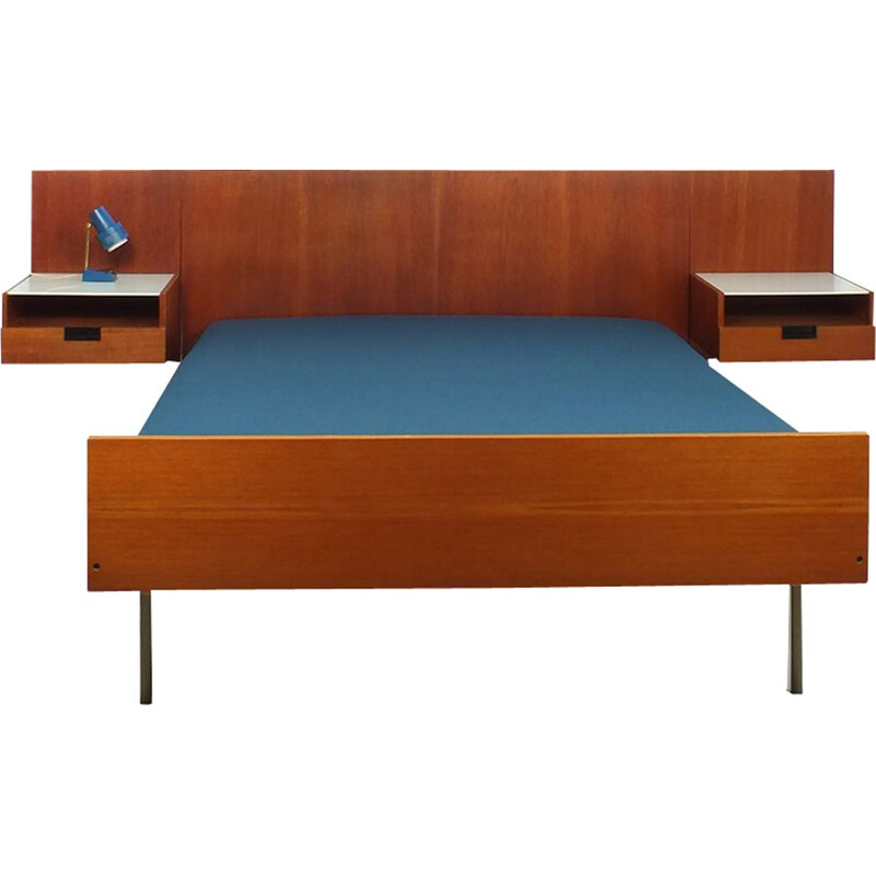 Set of vintage bed with two bedside tables for Pastoe in teakwood 1950