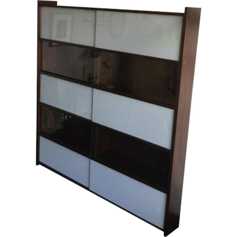 Vintage showcase library for Oscar in glass and dark teak 1950