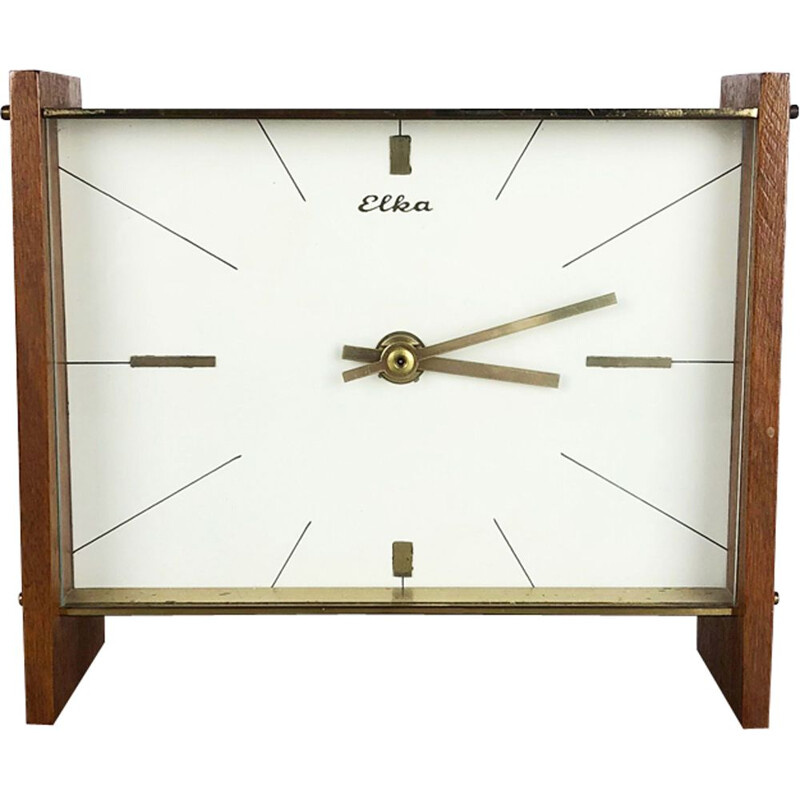 Vintage german clock by Elka in teakwood and brass 1960