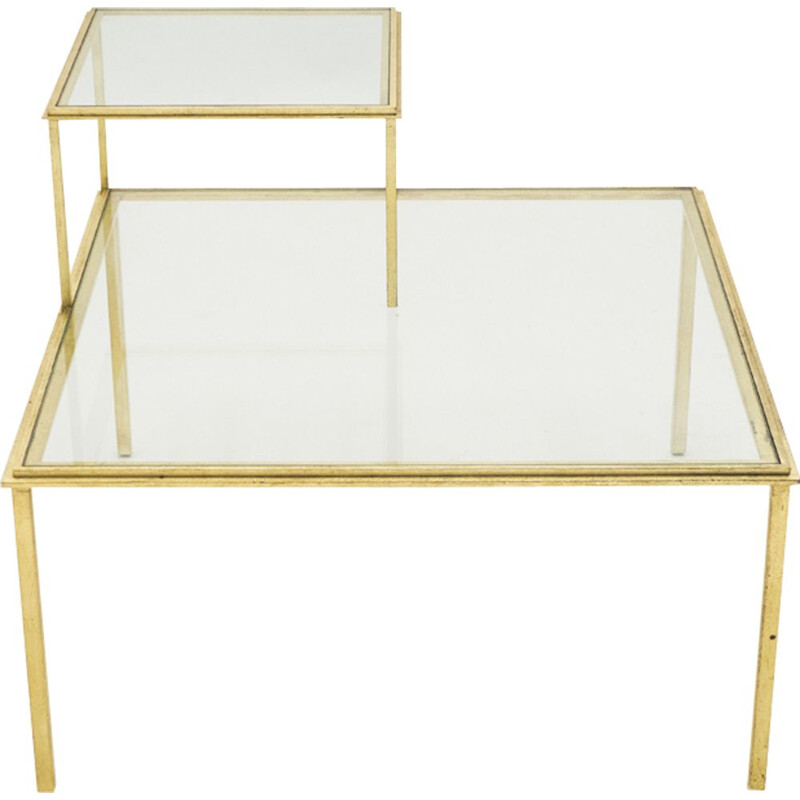 Vintage coffee table by Thibier in golden wrought iron 1960